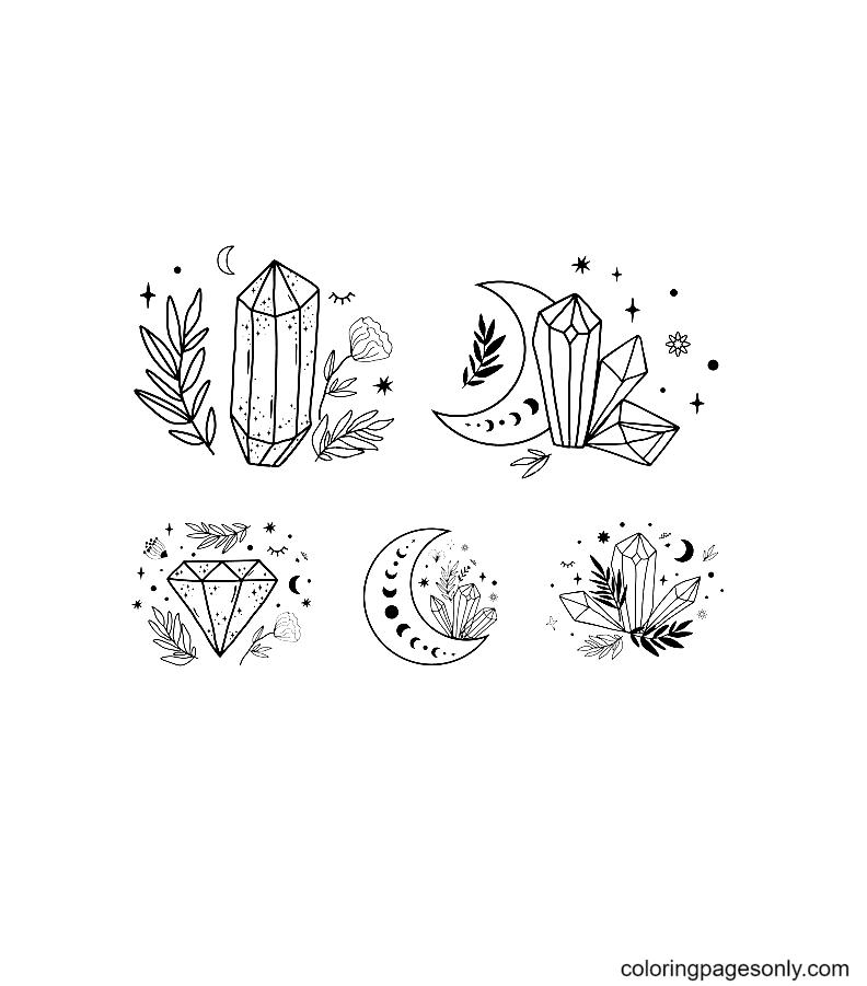 Moon Crystal set Coloring Page