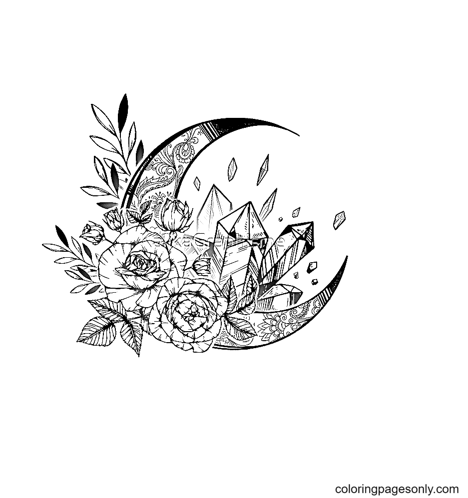 Moon flowers Cristals Coloring Page