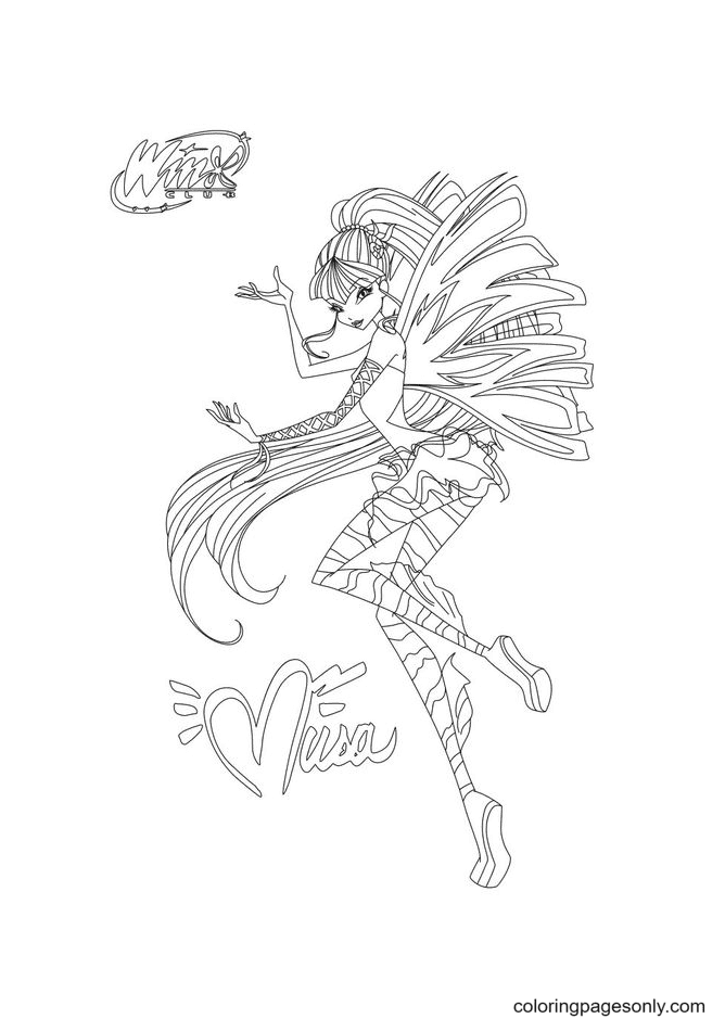 Musa Fairy of Music Coloring Page