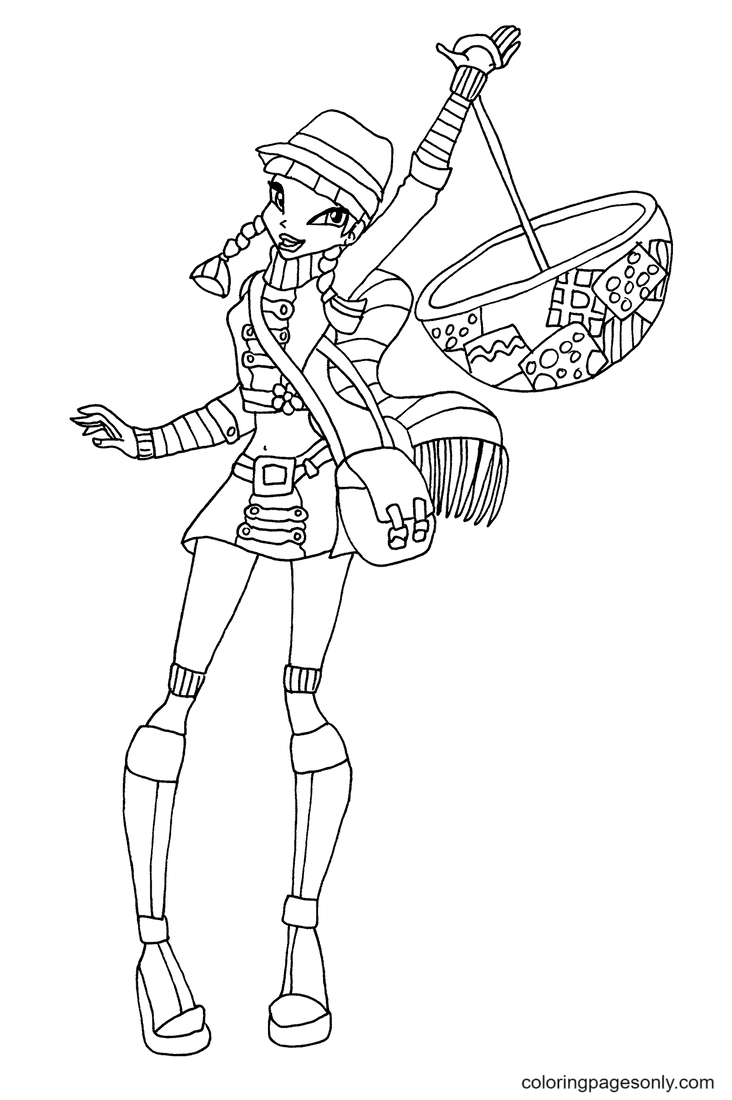 Musa Holding an Umbrella Coloring Page