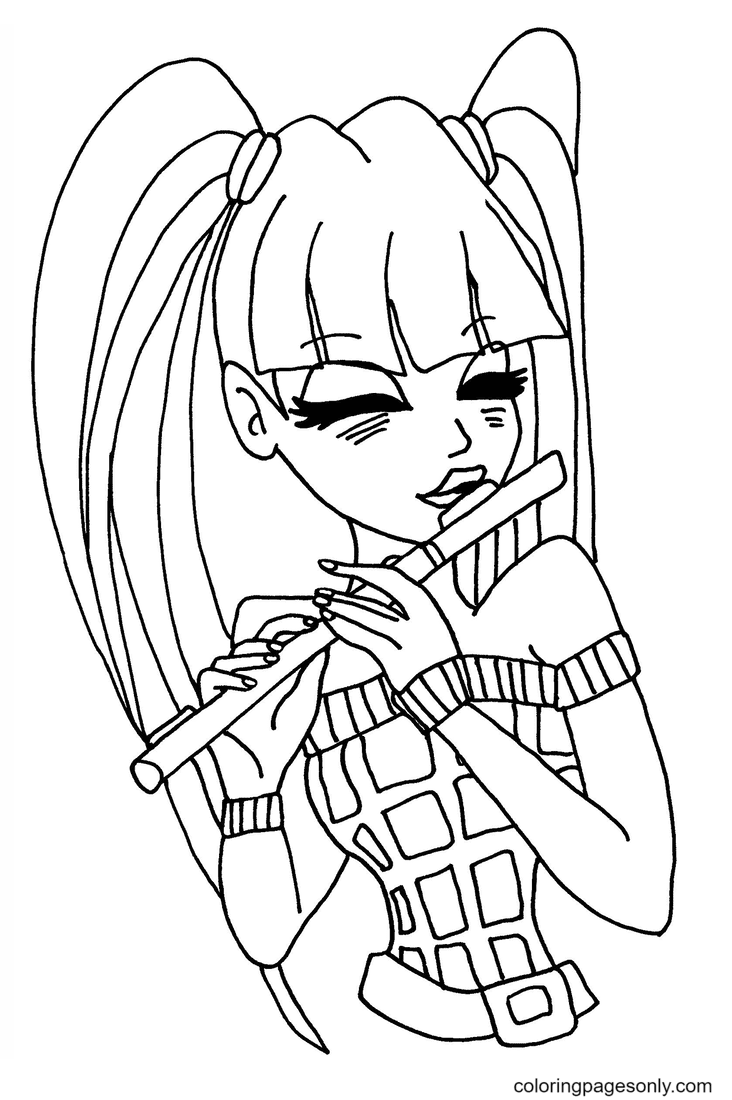 Musa plays flute Coloring Page