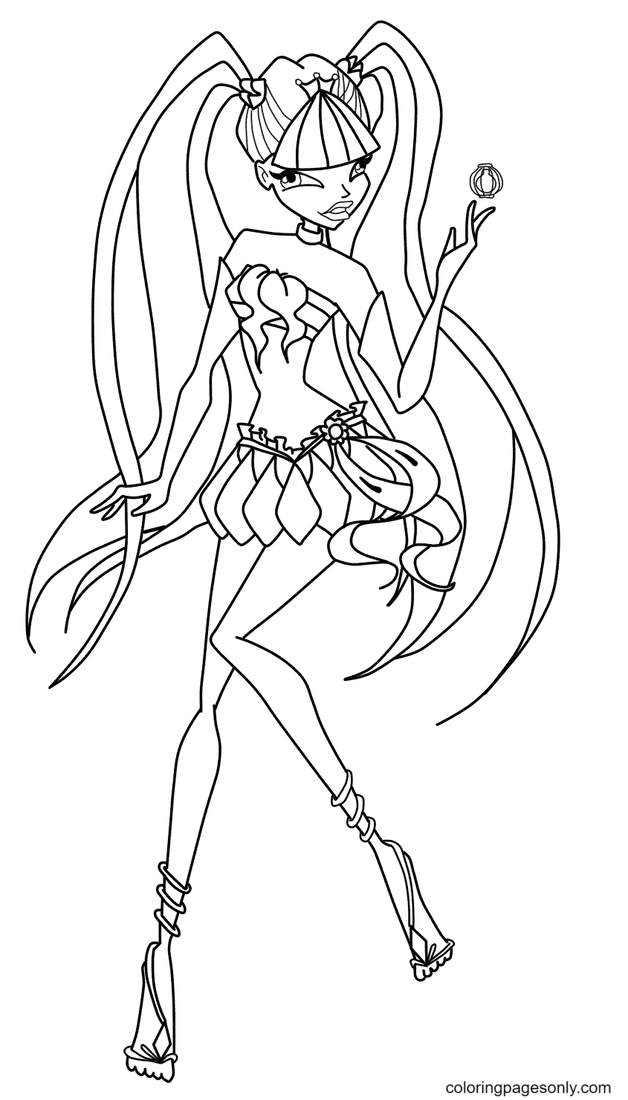 Musa with Fairy Dust Bottle Coloring Page