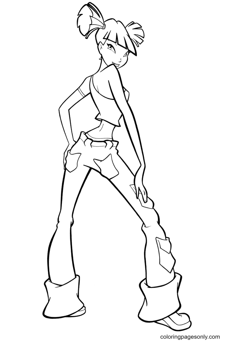 Musa with beautiful pants Coloring Page