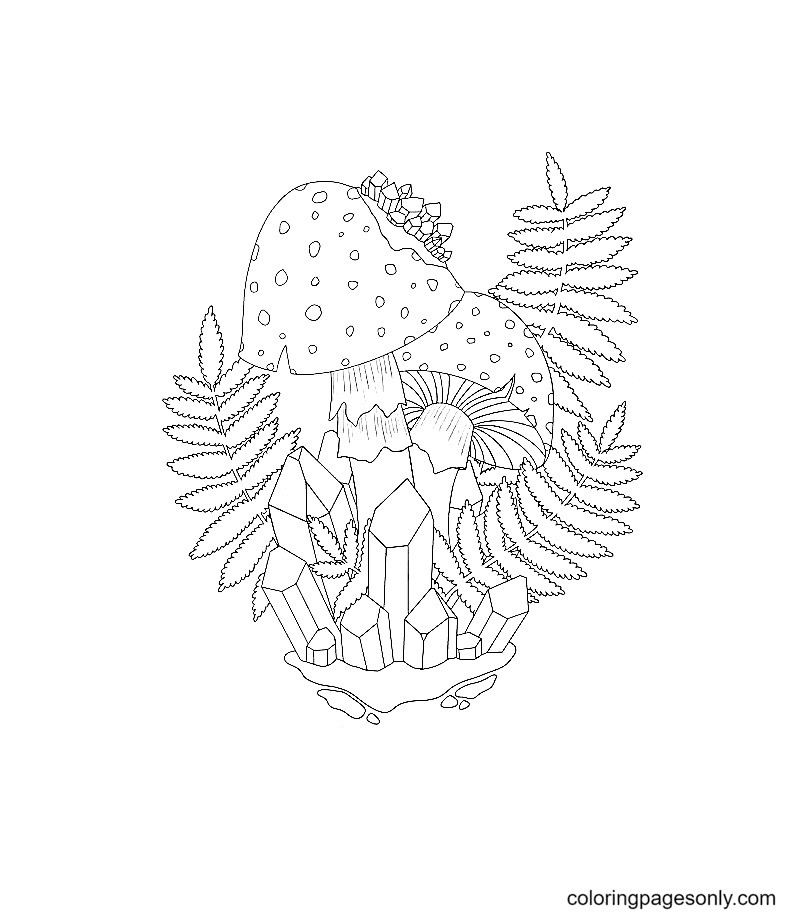 Mushroom, Crystal and Plant Coloring Page