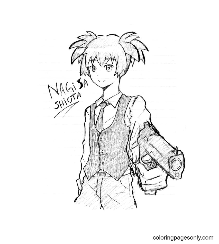Nagisa Shiota holding a gun Coloring Page