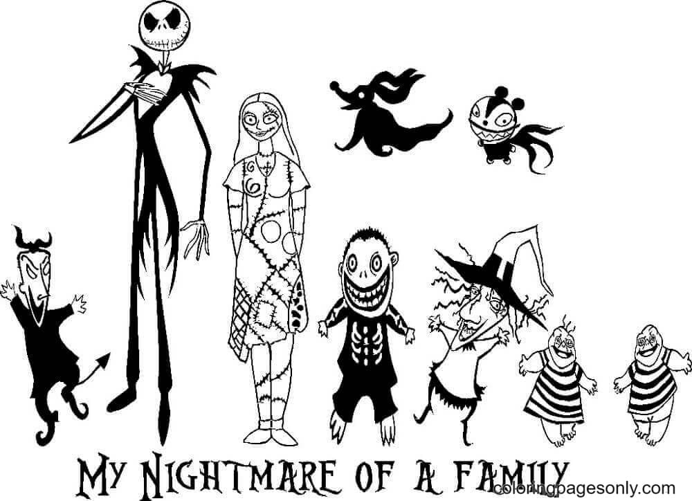 Nightmare Of A Family Coloring Page