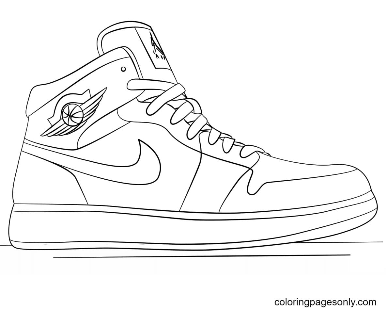 Nike Jordan Shoes Coloring Page