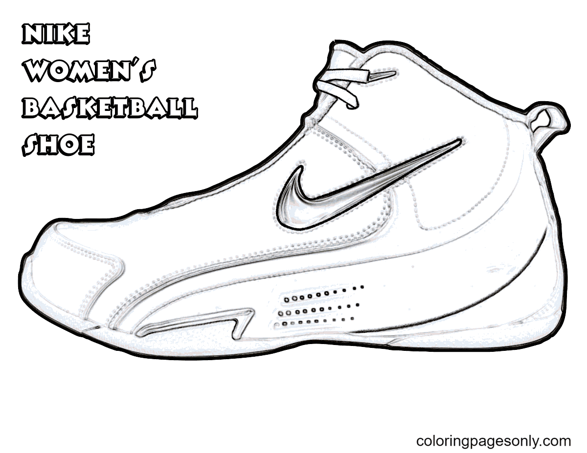 Nike Women's Basketball Shoes Coloring Page
