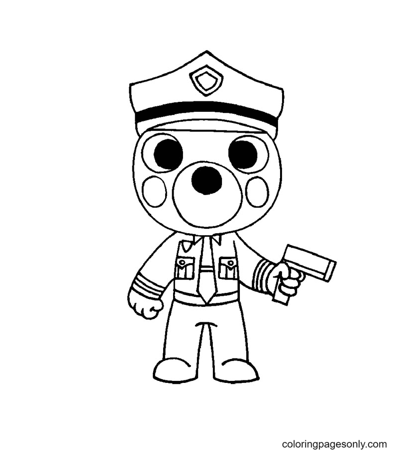 Officer Doggy Roblox Piggy Coloring Page