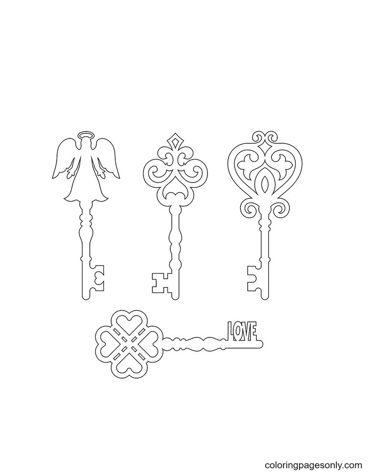 Old Key Silhouette Coloring Page