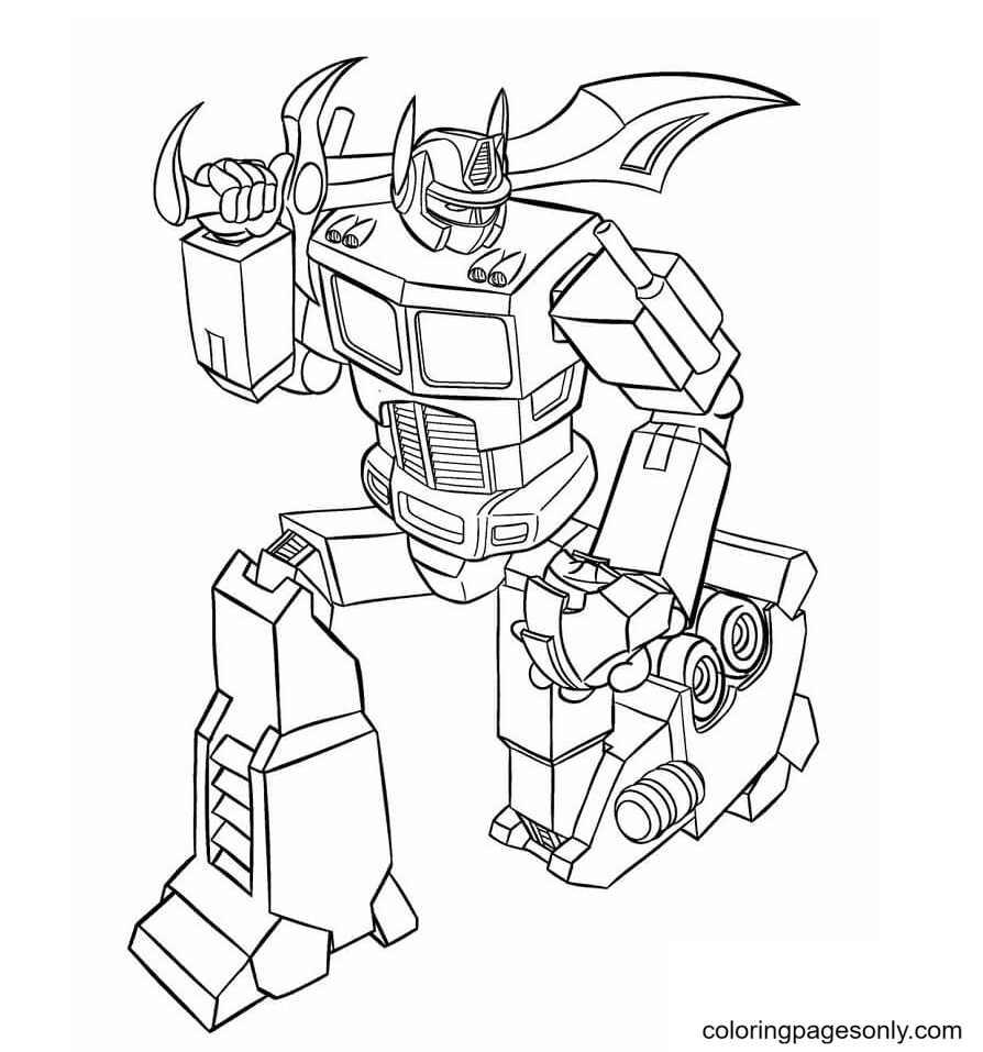 Optimus Prime with Sword Coloring Page