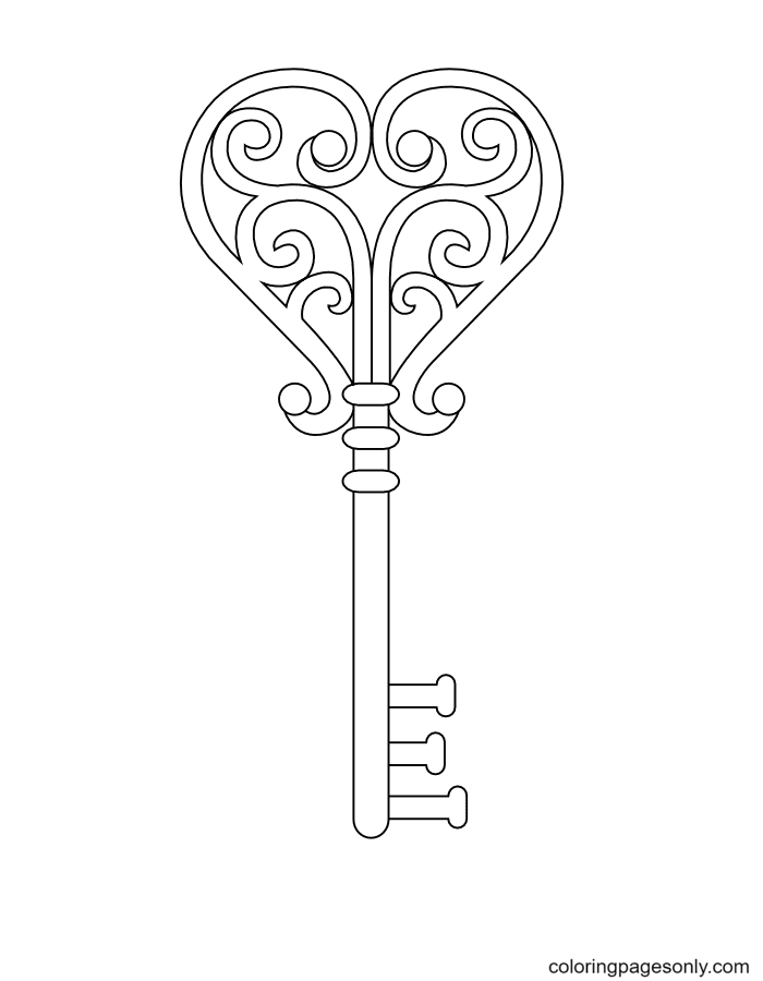 Ornate Heart Key Coloring Page