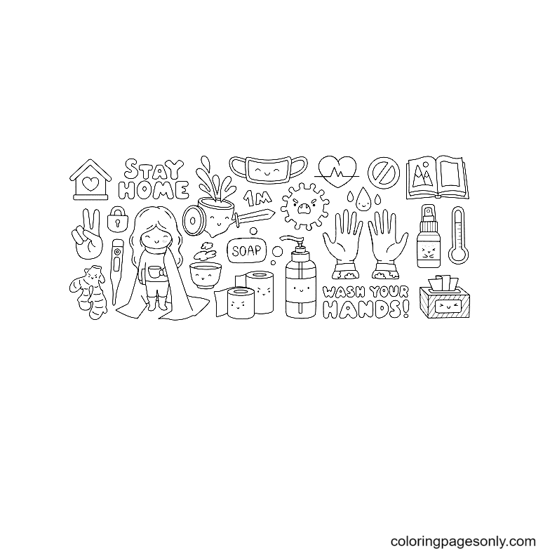 Pandemic covid-19 Quarantine and self isolation Coloring Page