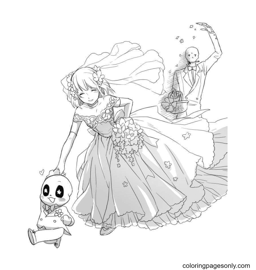 Papyrus, Frisk and Sans Coloring Page