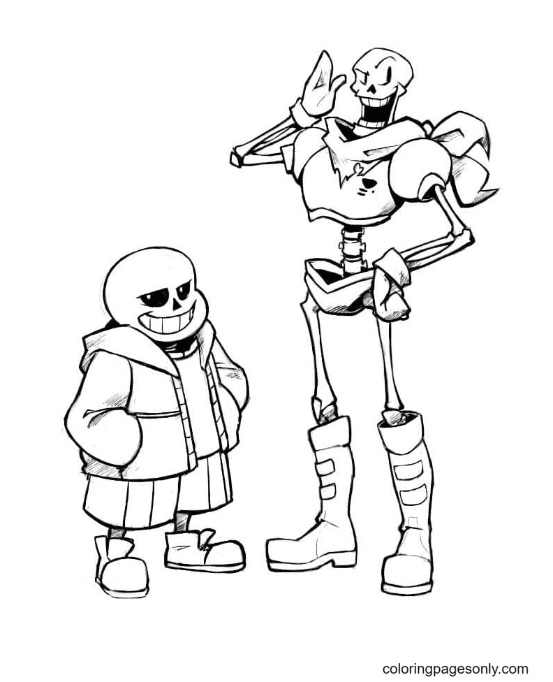 Papyrus and Sans Undertale Printable Coloring Page