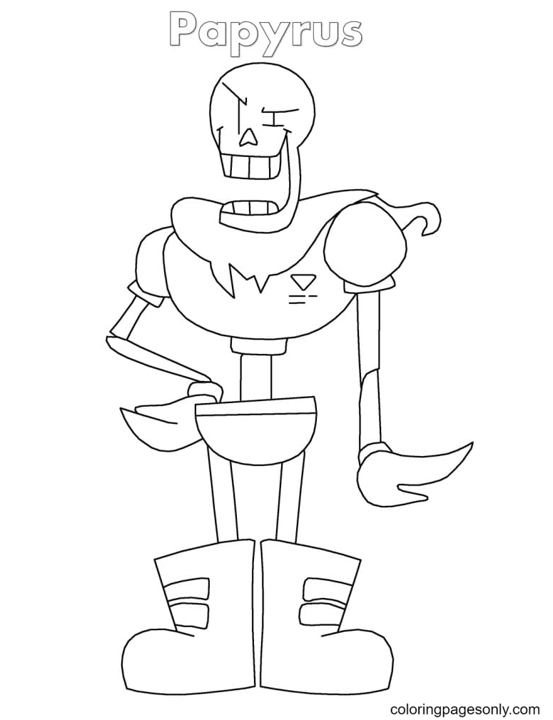 Papyrus from Undertale Coloring Page