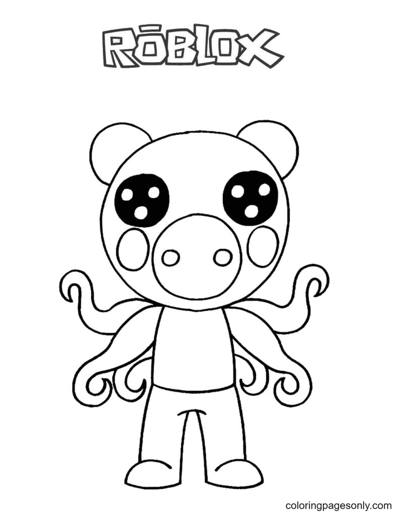 Parasee Piggy Coloring Page