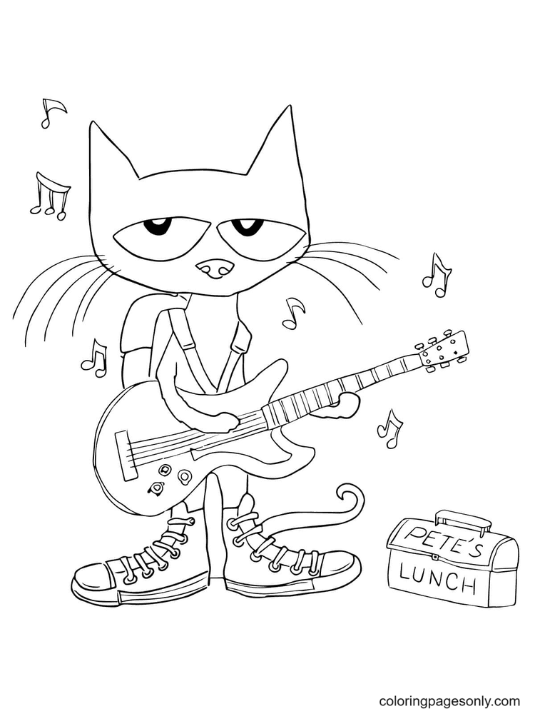 Pete The Cat Shoes Coloring Page