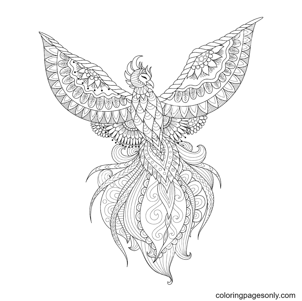 Phoenix Bird For Tattoo Coloring Page