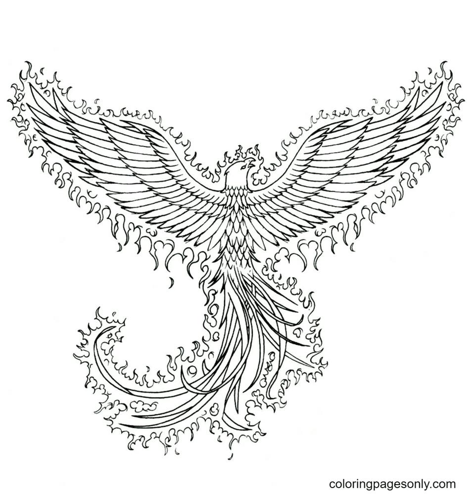 Phoenix Bird Printable Free Coloring Page