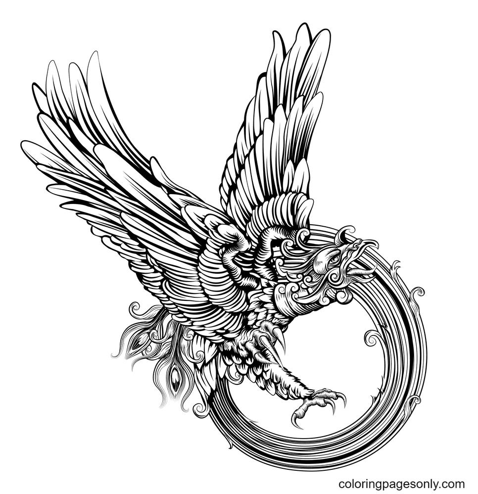 Phoenix Bird Tattoo Coloring Page