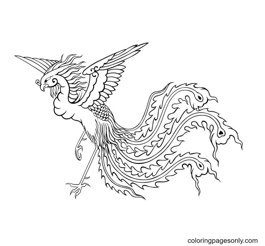 Phoenix Bird Coloring Page