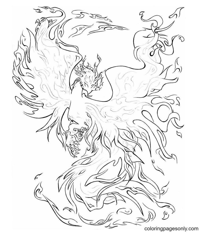 Phoenix Fire Coloring Page