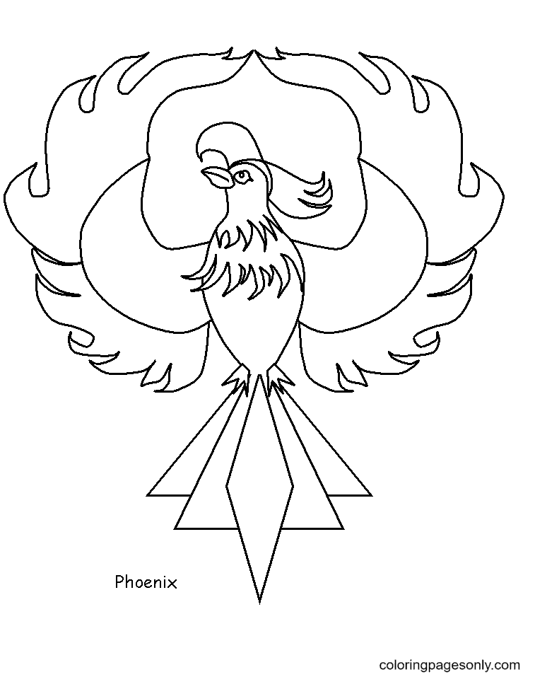 Phoenix In Flames Coloring Page