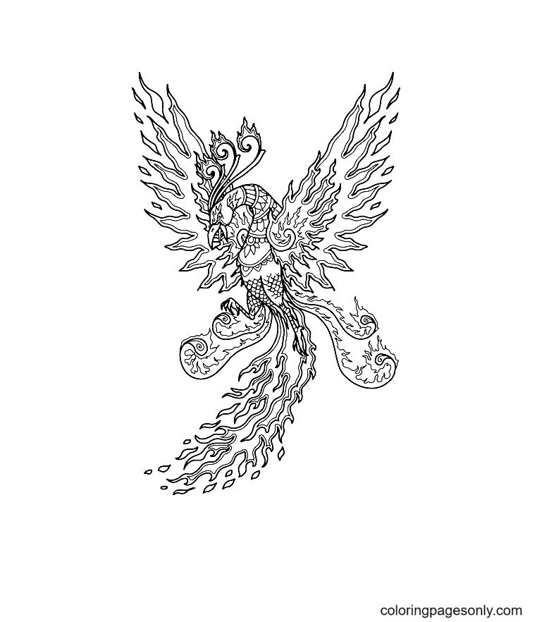 Phoenix Mandala Coloring Page