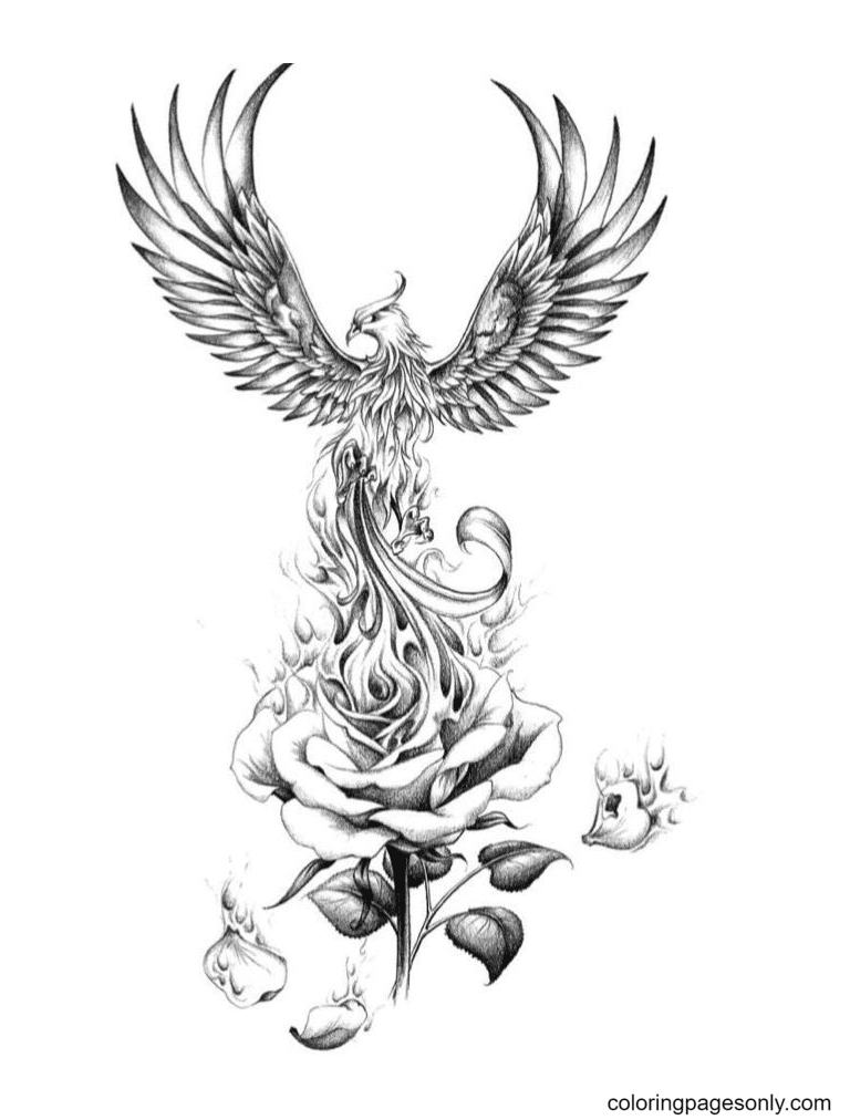 Phoenix and Rose Coloring Page