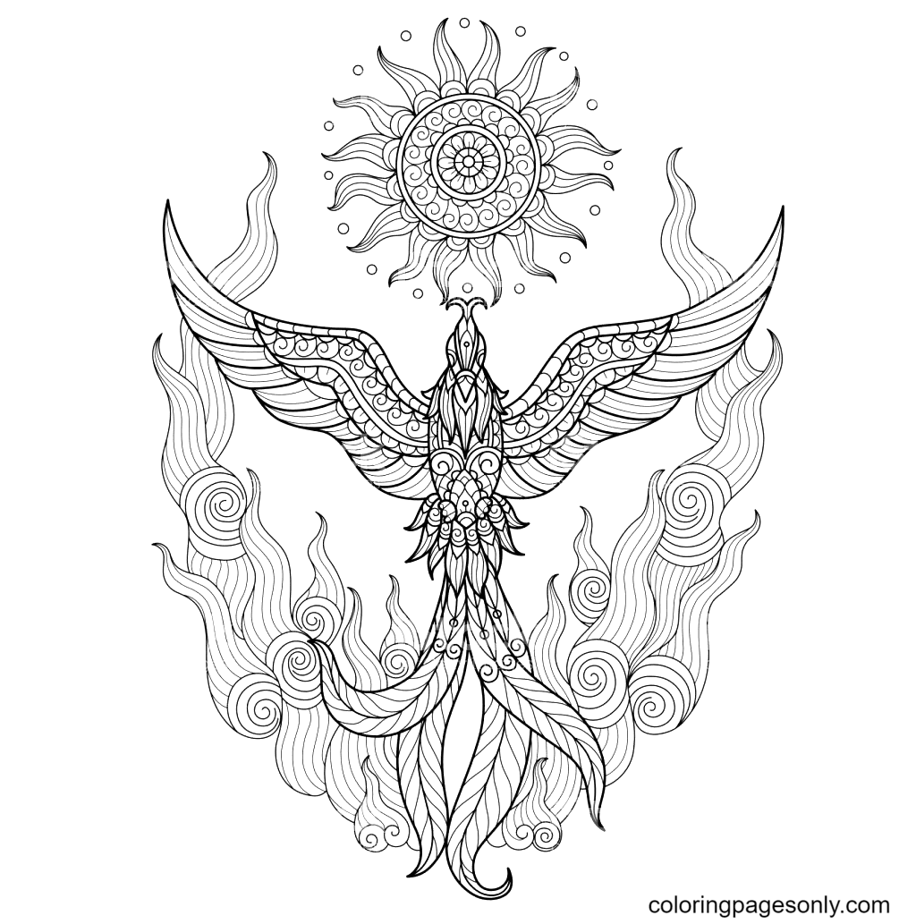 Phoenix for Adult Coloring Page