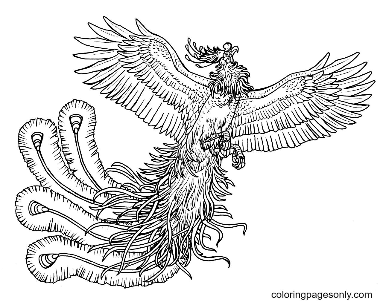 Phoenix print free Coloring Page