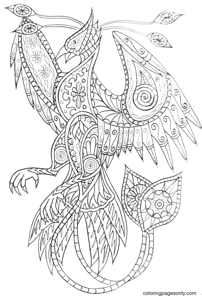 Phoenix tribal Coloring Page