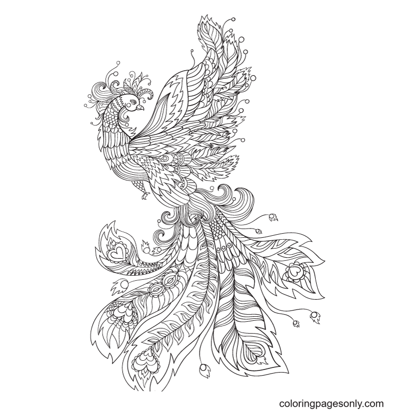 Phoenix with patterns on feathers and body Coloring Page