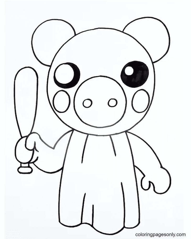Piggie with a bat Coloring Page
