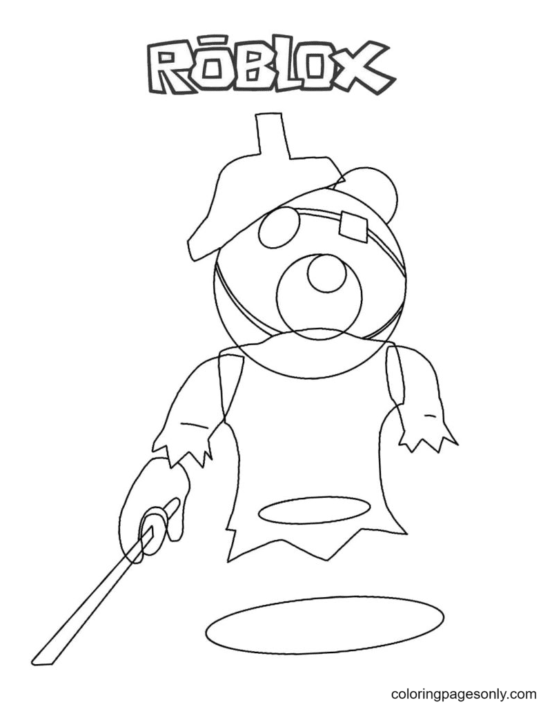 Piggy Ghosty Coloring Page
