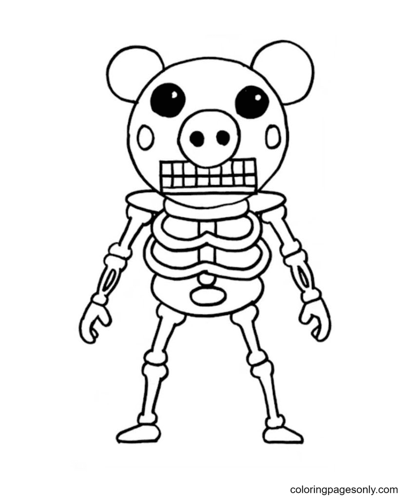 Piggy Skeleton Coloring Page