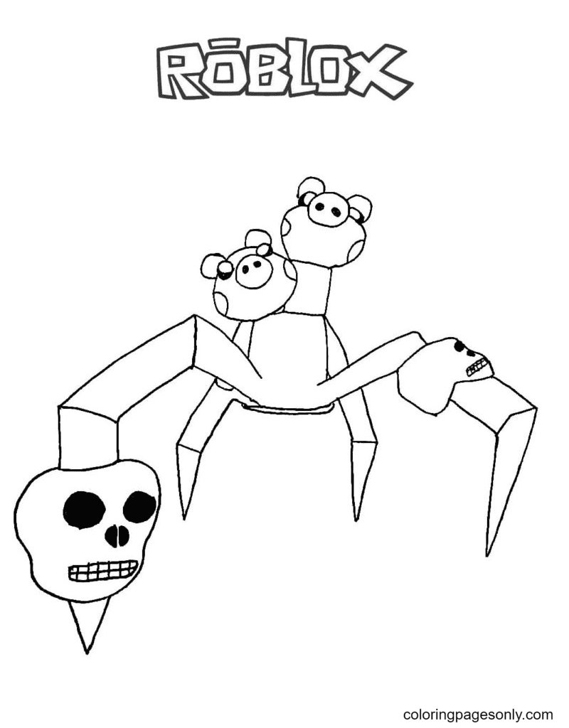 Piggy Spider Coloring Page