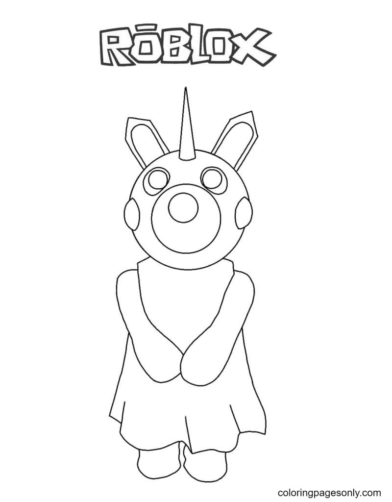 Piggy Unicorn Coloring Page