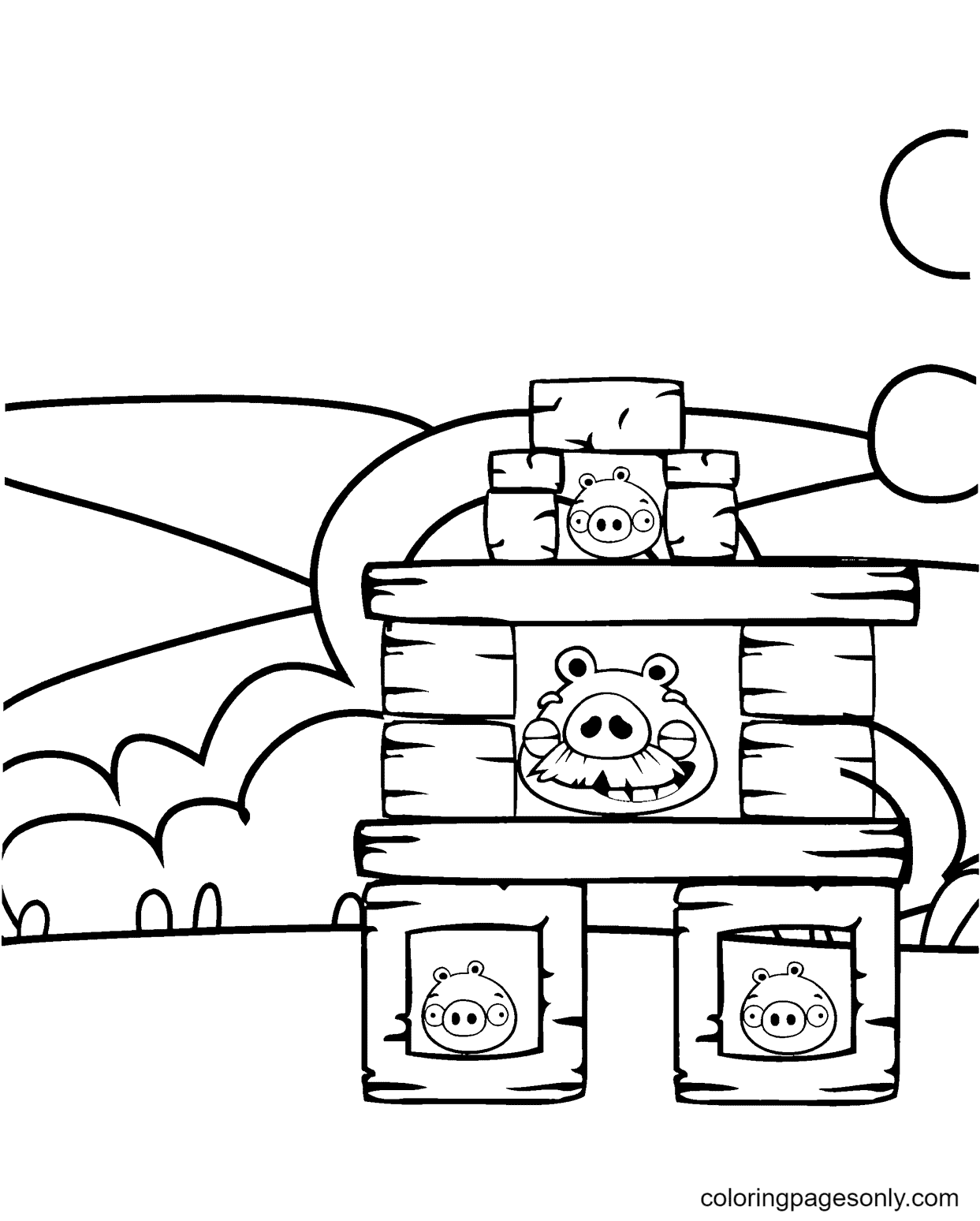 Pig's Fortifications Coloring Page