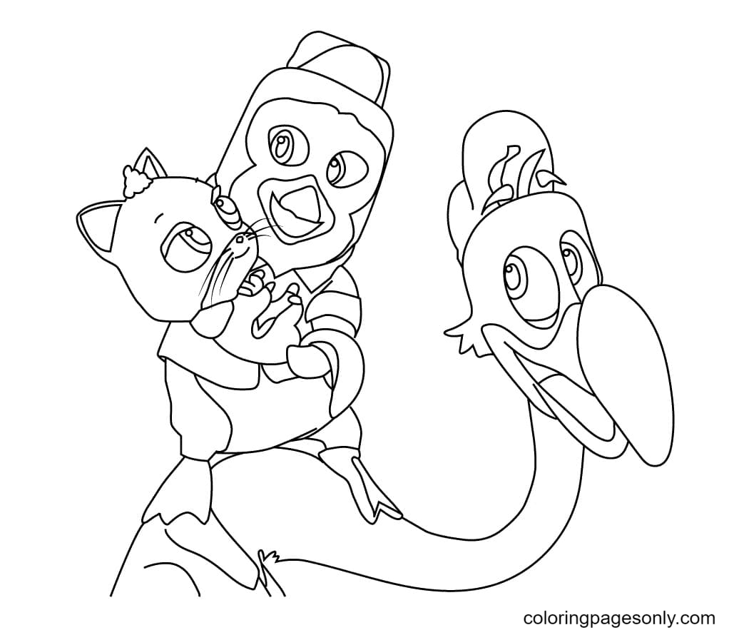 Pip, Freddy and Mia From TOTS Coloring Page