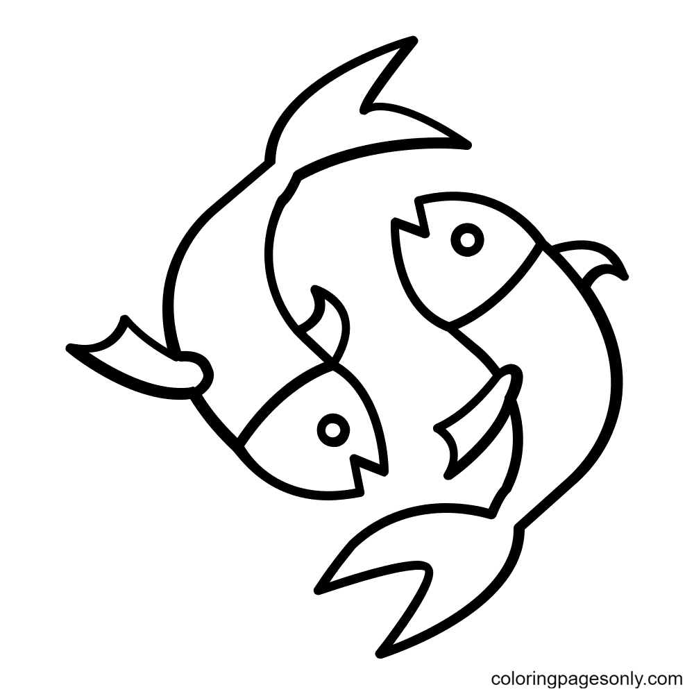 Pisces Free Printable Coloring Page