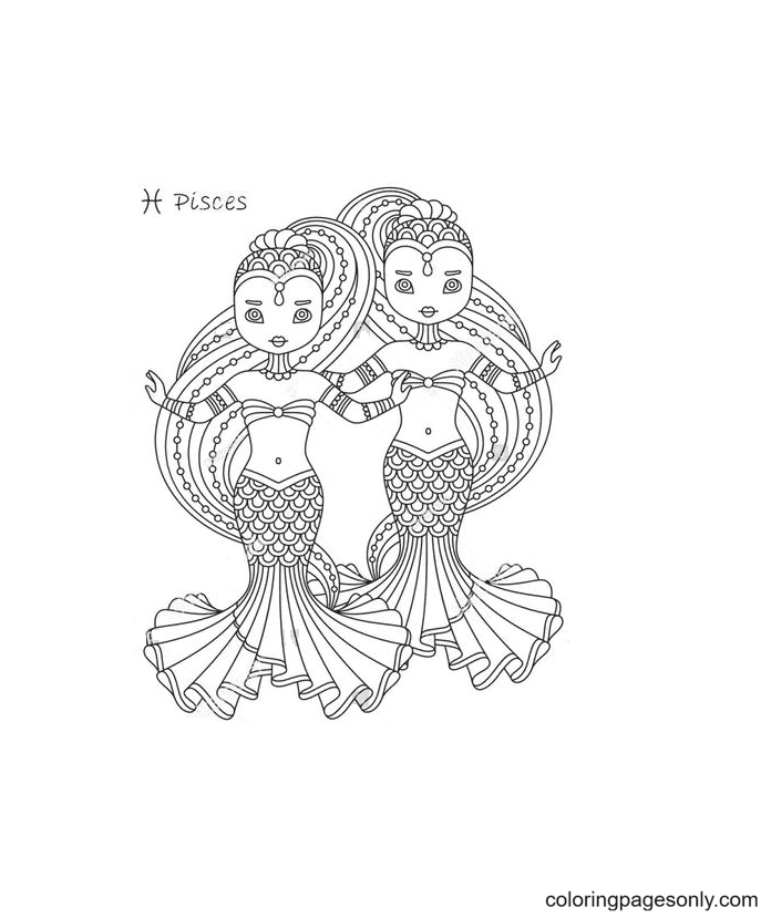 Pisces Girl Symbol Coloring Page