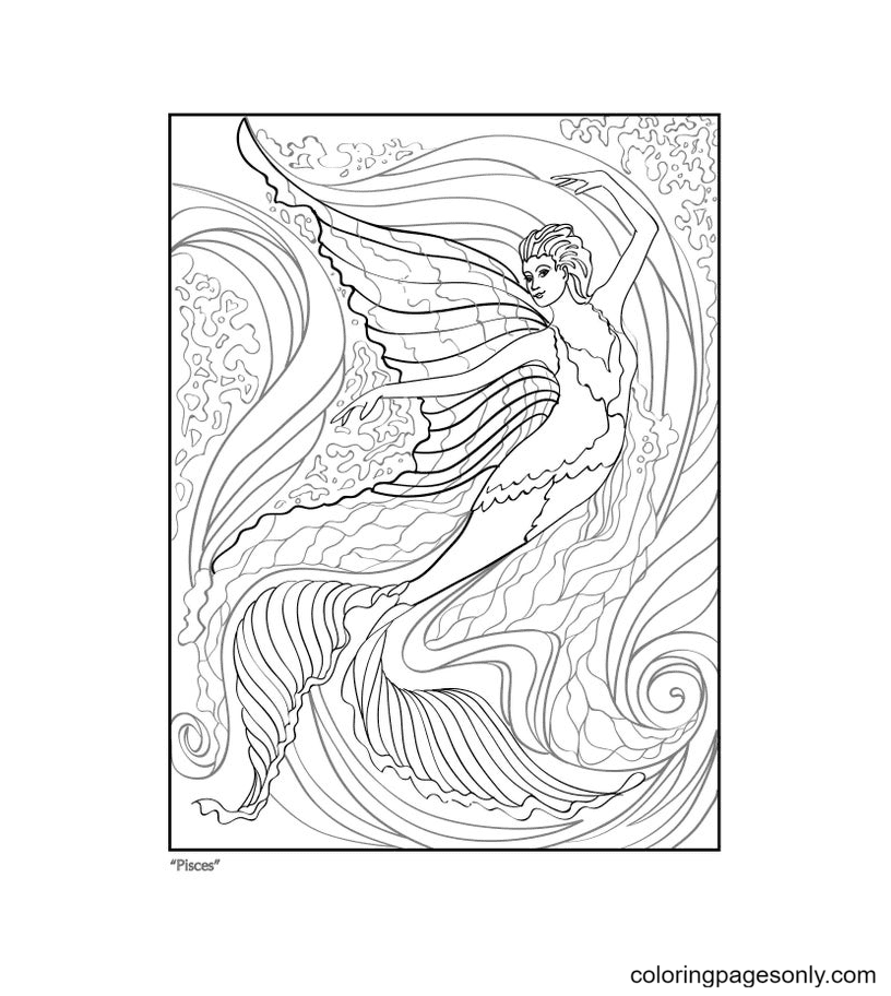 Pisces Girl Coloring Page