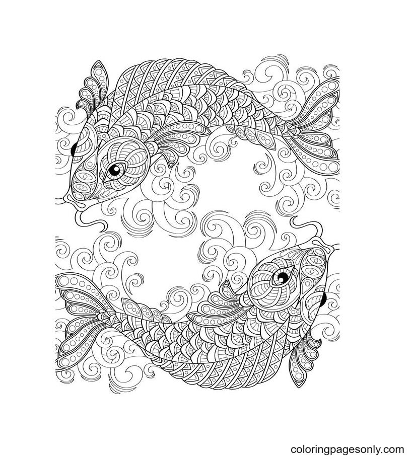 Pisces Mandala Coloring Page