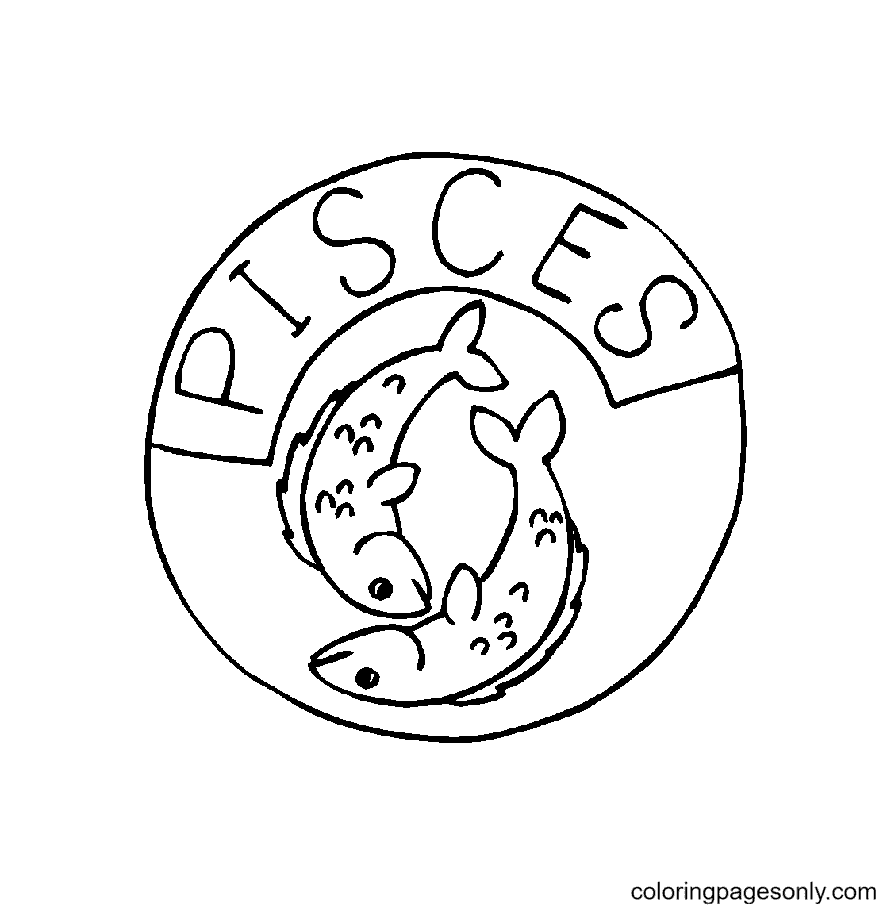 Pisces Symbol Free Coloring Page