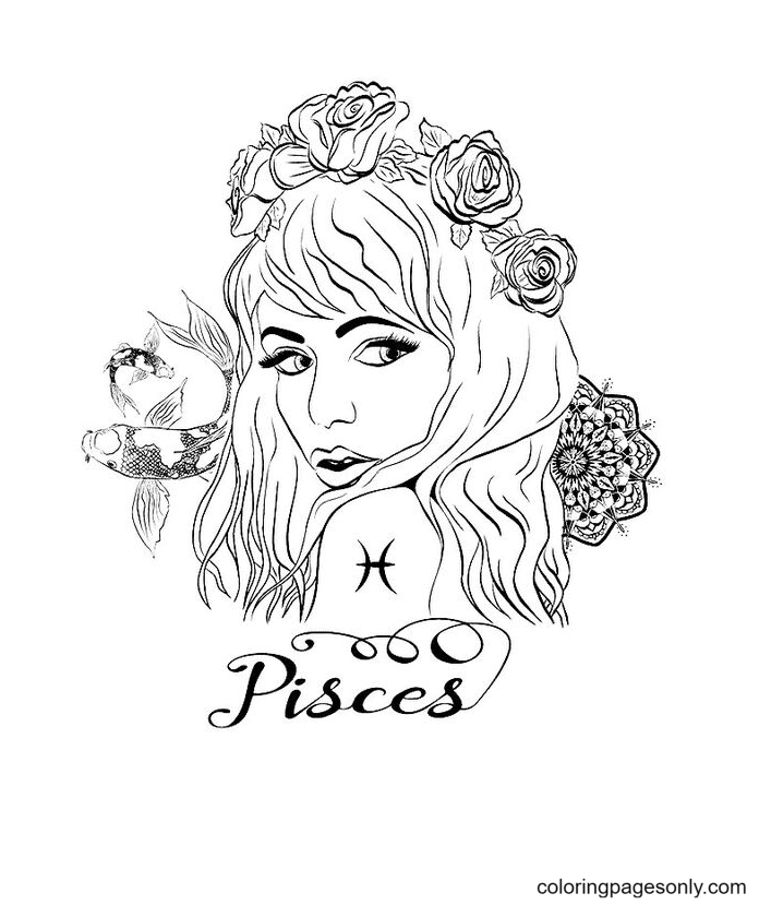 Pisces Symbol Printable Coloring Page
