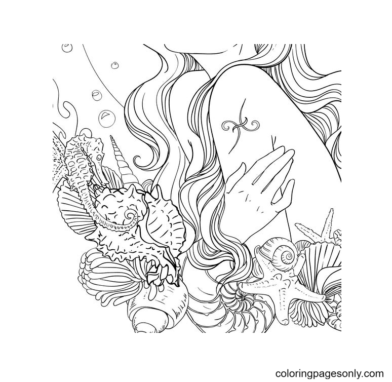 Pisces Tattoo Coloring Page
