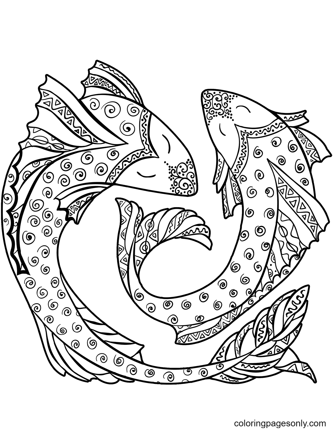 Pisces Zodiac Sign Free Printable Coloring Page
