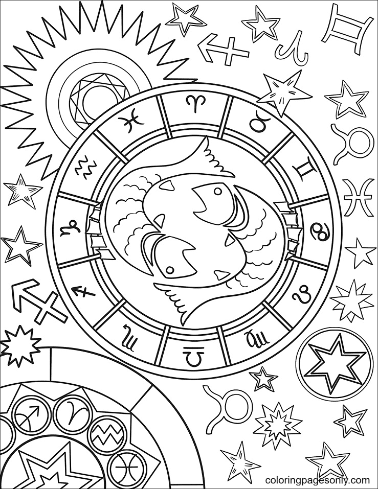 Pisces Zodiac Sign Coloring Page